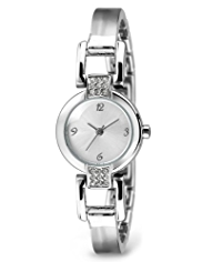 M&S Collection Round Face Diamanté Bar Bangle Watch