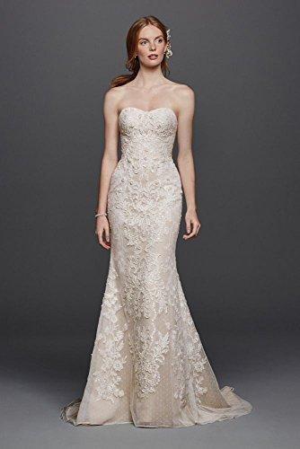 Novelty Oleg Cassini Strapless Lace Sheath Wedding Dress Style CWG738, Ivory, 14