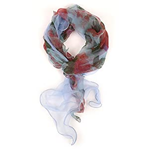 LibbySue-Light & Luxurious 100% Silk Floral Scarves in Soft Colors (Pink and Teal)