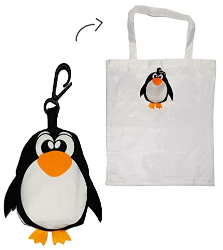 Tragetasche / Shopper / Einkaufsbeutel - Pinguin faltbar - Tasche aus Stoff mit Karabiner - Nylon - Faltshopper Beutel Einkaufstasche / Shopping Tasche