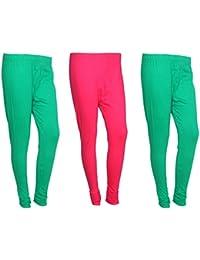 Indistar Women Cotton Legging Comfortable Stylish Churidar Full Length Women Leggings-Green/Magenta-Free Size-Pack...