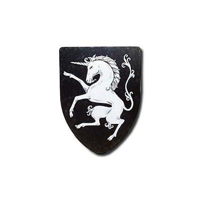 Prancing Unicorn Medieval Shield - 16 Gauge Steel - Black - One Size