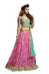 Ramdev Emperio Pink Color Women's Embroidered Georgette Lehenga Choli (Semi-Stitched)