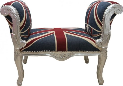 Barock Schemel Hocker Union Jack/Silber