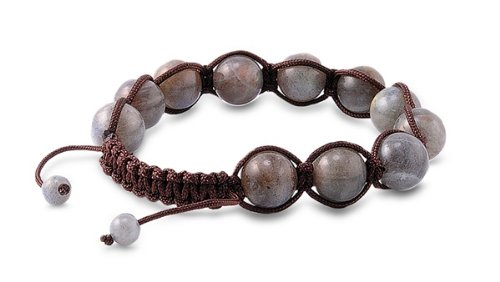 Tibetan Knotted Bracelet - Labradorite w/ Brown String - Bead Size: 10mm, Adjustable Length