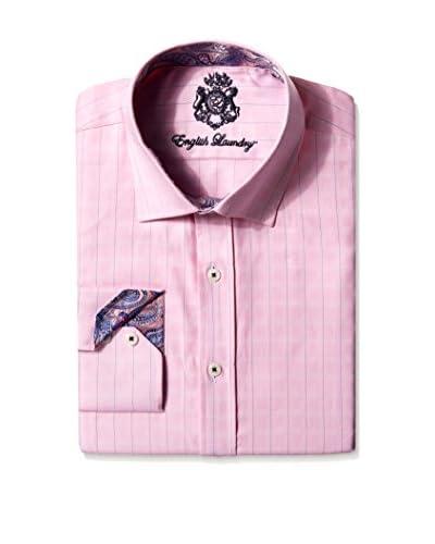English Laundry Men's Textured Stripe Dress Shirt