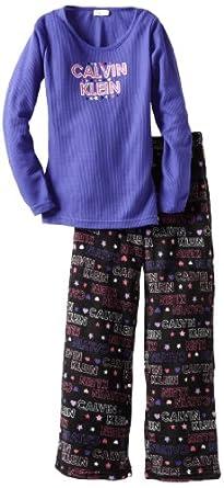 Calvin Klein Big Girls'  Ck 2 Piece Thermal Sleepwear Set, Purple, Small/7-8