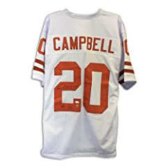 Earl Campbell Texas Longhorns Autographed White Jersey Inscribed HT 77 Autographed -...