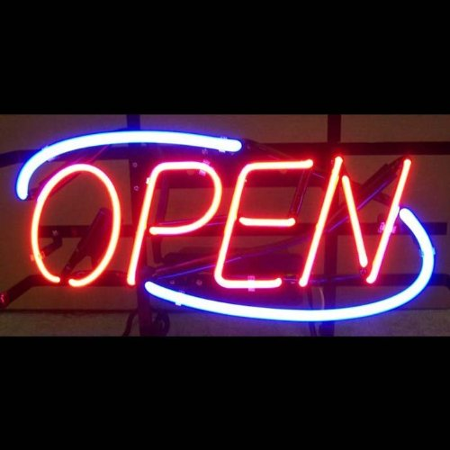 Neonetics 5OPENN Red Open Neon Sign With Blue Border