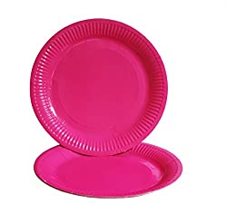 PrettyurParty Paper Plates (Pack of 10) - Dark Pink