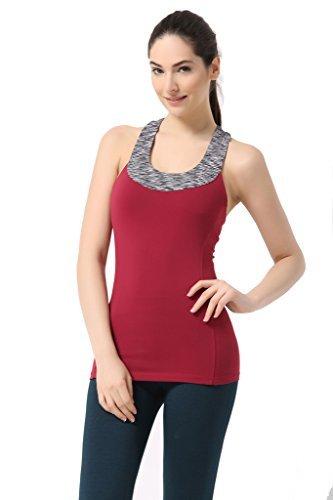 Sportown™ Women's Contrast Scoop Neck Yoga Tank Top with Built-in shelf bra (XL, Crimson)