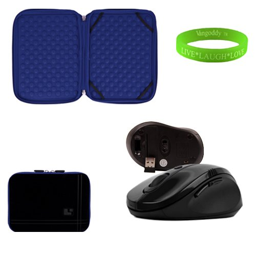 13 Inch Black And Ocean Blue Laptop Sleeve For The Dell Inspirion 13 Z Ultrabook With A Small Pocket. Shock Absorbent Bubble Padding To Prevent Minor Damages To Your Ultrabook. + Black Gloss Wireless Mouse + Vangoddy Live Laugh Love Bracelet