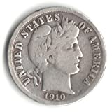 1910-D U.S. Liberty Head (Barber) Dime Coin - 90% Silver