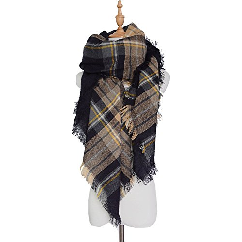 MUYBIEN - Set de bufanda, gorro y guantes - Cuadrados - para mujer Muster #16 XXL