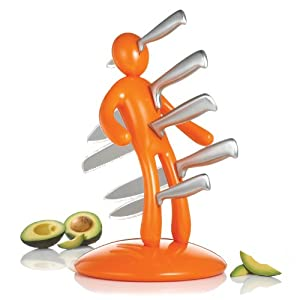 THE EX Kitchen Knife Set by Raffaele Iannello, Orange