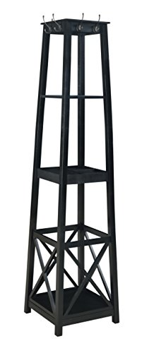 H2O  Coat Rack Tower, Free Standing with 2 Shelves, Espresso, 72-Inch
