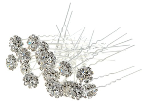 Yantu Women's 20pcs Alloy & Clear Crystal Flower Design Lovely Elegent Hair Pins Accessories Hair Barrettes Hair Jewelry for Bride