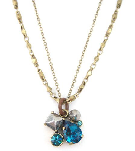 MARC JACOBS Cluster Claude Pendant Duel Strand Pyramid Crystal Necklace