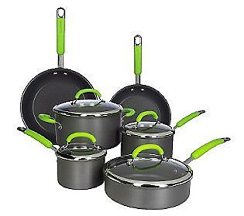 K38334 Rachael Ray 10-piece Hard Anodized Dishwasher Safe Cookware Set fennel