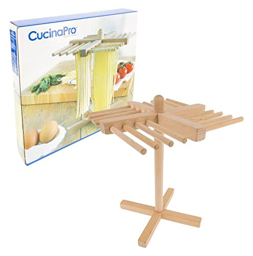 Pasta Drying Rack by Cucina Pro - Real Wood, Folds Flat for Easy Storage (Pasta Drying Rack Wood compare prices)