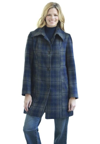 Plus Size Jacket, With A-Line, Plaid Wool Blend