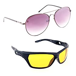 Elligator Stylish Spartiate Purple And Nightvision Yellow Sunglasses Combo ( Set of 2 )