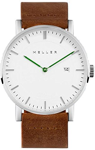 Meller Unisex Dag Camel minimalistische Uhr mit Weiß Analog-Anzeige und Lederband
