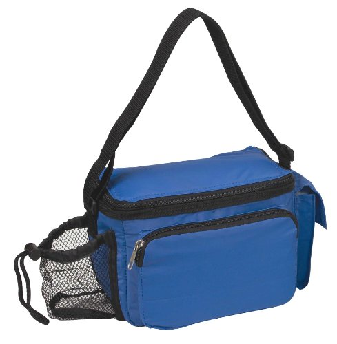 "9"" Insulated Six 6-Pack Cooler With Bottle Holder In Royal Blue front-955954"
