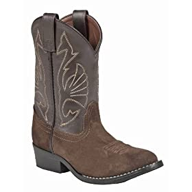 Acme Kids Boots Boys Western Riding Cowboy Boots 5.5 Youth Brown Leather - AC156 - Rubber Outsole - Cowboy Heel - Suede Foot - Cushion Insole