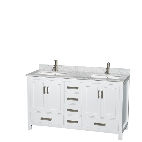 Wyndham-Collection-Sheffield-60-inch-Double-Bathroom-Vanity-in-White-White-Carrera-Marble-Countertop-Undermount-Square-Sinks-and-No-Mirror