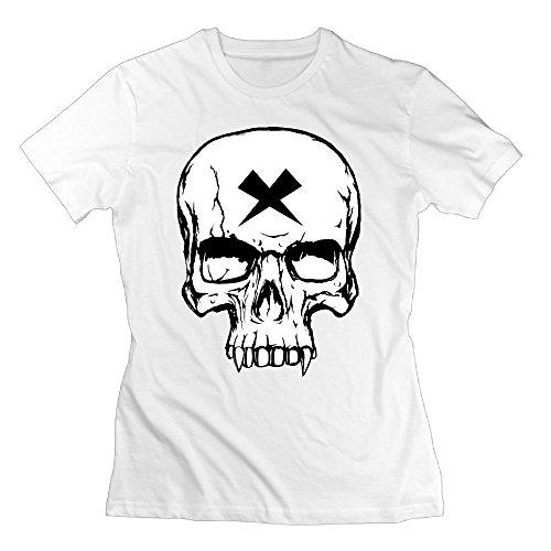 XOX-T Women's Vampire Skull Black And White T-shirt XX-Large White