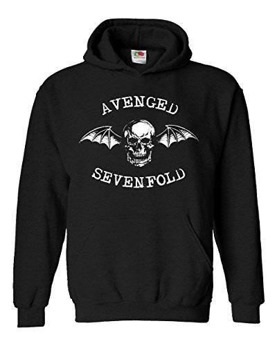 """Felpa Unisex """"Avenged Sevenfold"""" - Felpa con cappuccio rock metal band LaMAGLIERIA, M, Nero"""