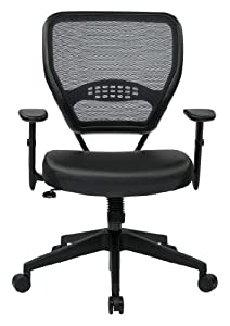 SPACE Seating Professional Dark Air Grid Back with Black Eco Leather Seat, Managers Chair