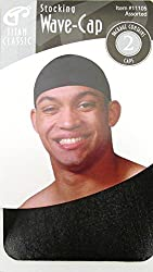 Titan Classic Stocking Wave Cap 11105 Black - 4 caps, Ultra stretch, fits all sizes, one size, fits most, keeps on tight, durag, bandana, high quality, super stretchable, stretchy