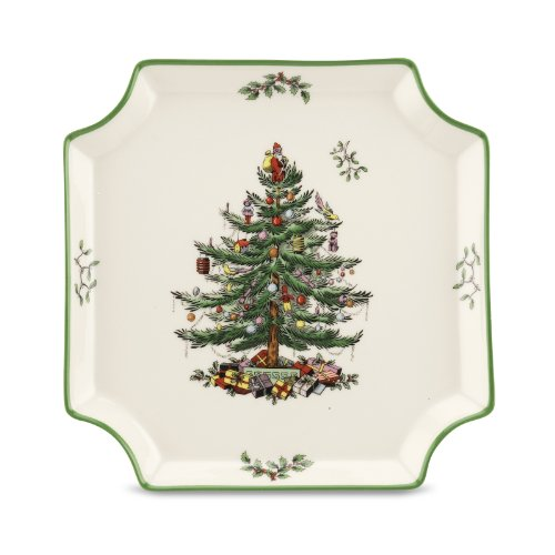 Spode Christmas Tree Square Canape Plate Spode Christmas Tree Giftware