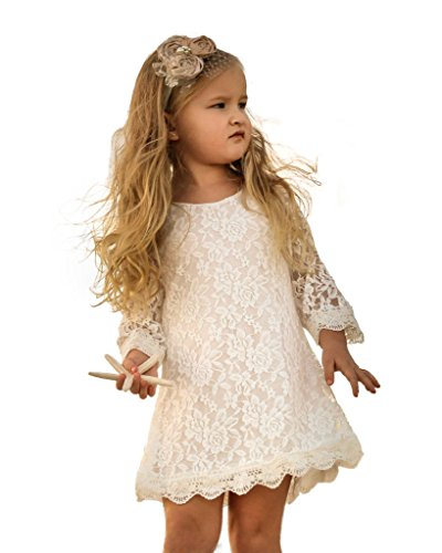 CVERRE Flower Girl Lace Dress Country Dresses with sleeves 1-6 ( White, 100)