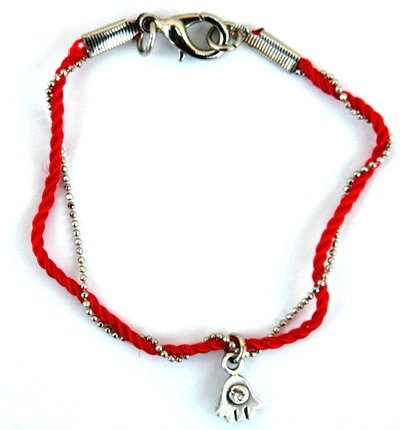 Threaded Red Kabbalah String & Hamsa Bracelet