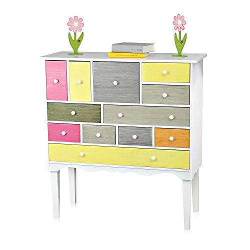 Anrichte-Kommode-Patchwork-Design-12-Fcher-bunt-Schubladenkommode-Sideboard