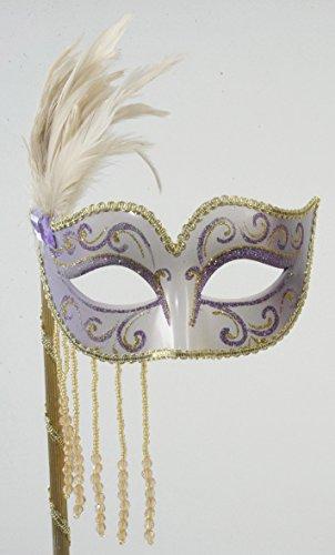 Stab Maske creme/lila mit Edelstein in lila, BxH: 15x43cm
