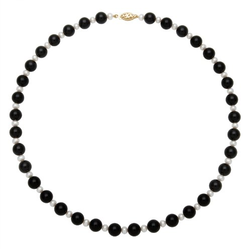 4mm White Freshwater Pearl and 8mm Black Onyx Necklace with 14K Yellow Gold Clasp, Free Shipping and Gift Box
