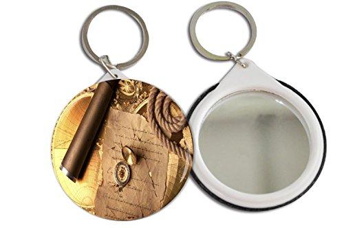 Rikki Knighttm Vintage Navigation Compass Map And Telescope Design 2.25 Inch Keychain Button Mirror Key Chain