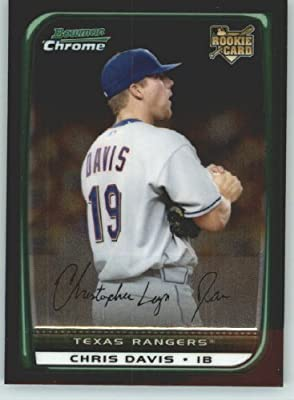 2008 Bowman Draft Chrome Baseball Cards # BDP14 Chris Davis (RC - Rookie Card) Texas Rangers - MLB Baseball Trading Card