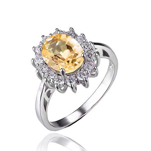 Jewelrypalace 1.8ct 天然石 本物 シトリン 11月 誕生石 Kate Middleton(ケイトミドルトン)Diana(ダイアナ) プリンセス デザイン 925 スターリング シルバー 婚約指輪 結婚式 おしゃれ リング