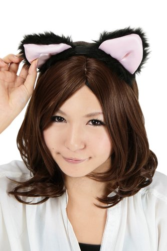 Bushy black cat ears headband