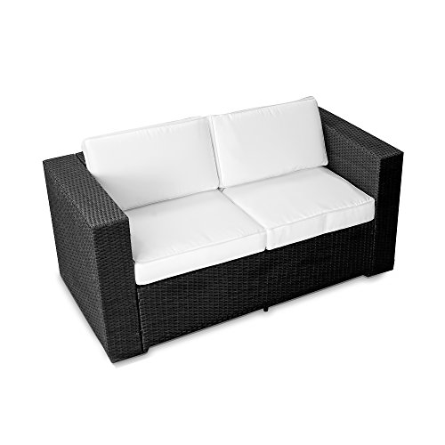 XINRO-2er-Polyrattan-Lounge-Sofa-Gartenmbel-Couch-Bank-Rattan-durch-andere-Polyrattan-Lounge-Gartenmbel-Elemente-erweiterbar-InOutdoor-handgeflochten-schwarz