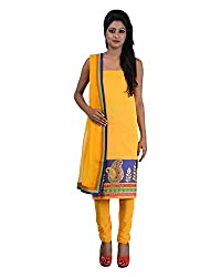 Mumtaz Sons Women's Cotton Unstitched Dress Material (MS111408D,Yellow)