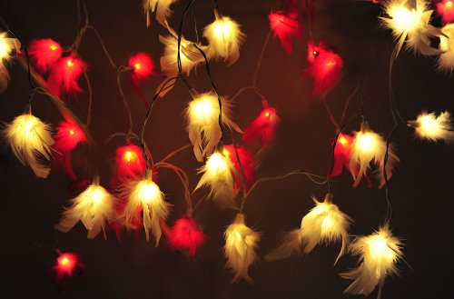2 Sets Mixed Of 20 White & Red Colors Each Fluffy Fur Soft Lighting String Lights Set Lamp Decoration Patio Home Living Room Yard Garden Indoor And Outdoor For Birthday, Christmas, New Year, Wedding Anniversary, Ceremony, Graduation, Valentine Party