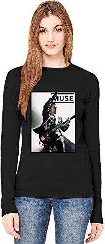 Muse Matthew Bellamy T-Shirt da Donna a Maniche Lunghe Long-Sleeve T-shirt For Women| 100% Premium Cotton Ultimate Comfort Medium