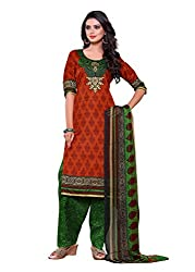 SayShopp Fashion Women's Unstitched Regular Wear Cotton Printed Salwar Suit Dress Material (ZDM-12_Red,Green_Free Size)