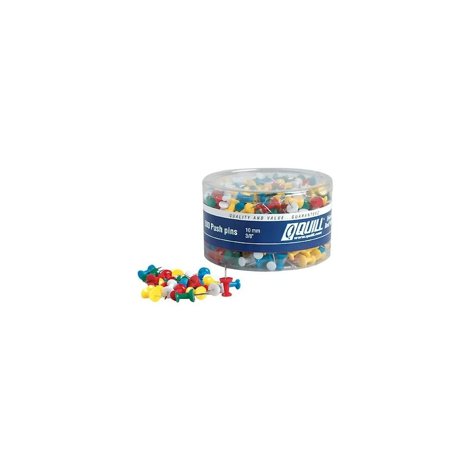 Quill Plastic Push Pins; Assorted colors, 500/Pack